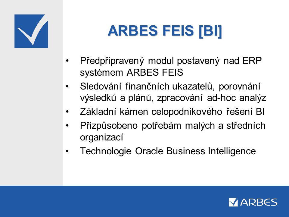 ARBES FEIS [BI] Předpřipravený modul postavený nad ERP systémem ARBES FEIS.